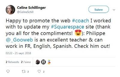 Exemple d'un tweet faisant référence à Gooweb par une cliente.