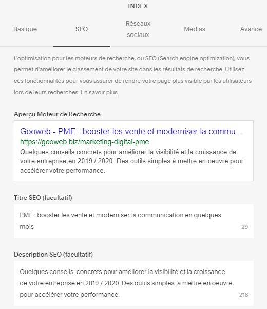 Balises metas titre et description dans les paramètres de page Squarespace