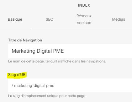 Description de l'URL dans Squarespace