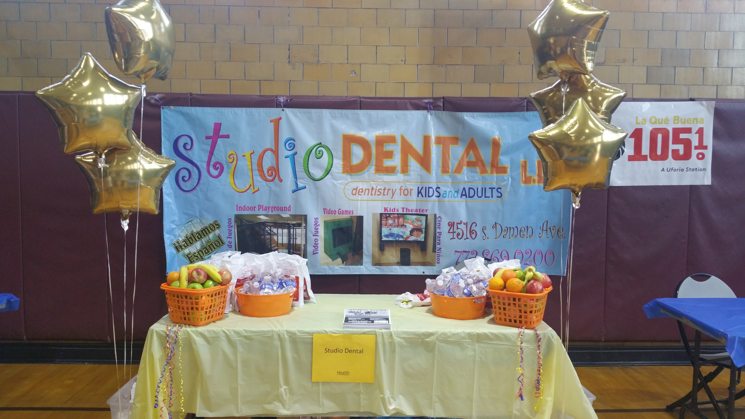 Studio Dental table at the Back to School Health and Fun Fair at Davis Square Park