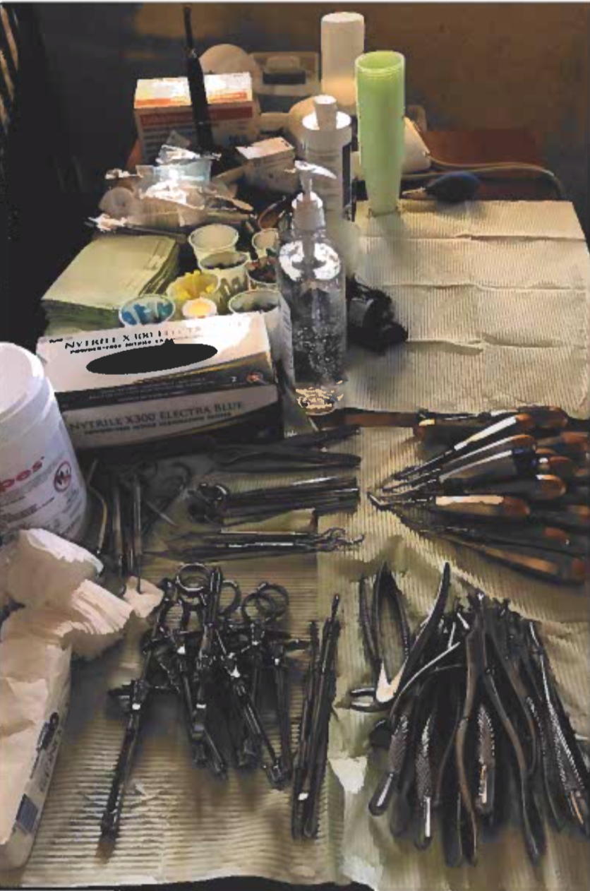 Dental tools used by Dr. Jessica Hyker on her mission trip in Haiti