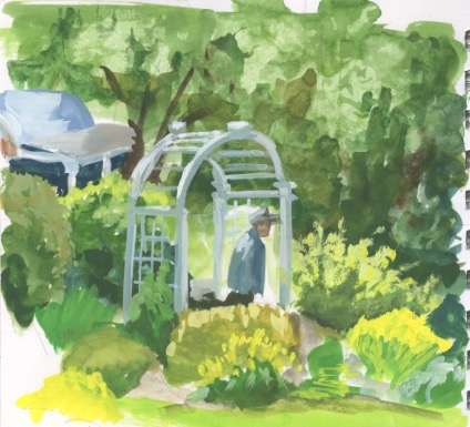 A walk in the garden at Oatlands Plantation. Gouache on paper. Copyright Kim T. Richards 2015
