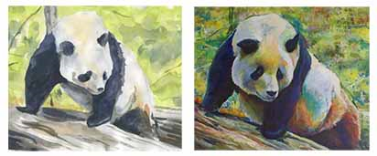 Sketchbook painting of a panda I saw at the National Zoo and the acrylic painting that it inspired. Copyright 2015 Kim T. Richards. All rights reserved.