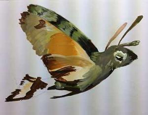 Hummingbird hawk moth sketchbook page - phase one.
