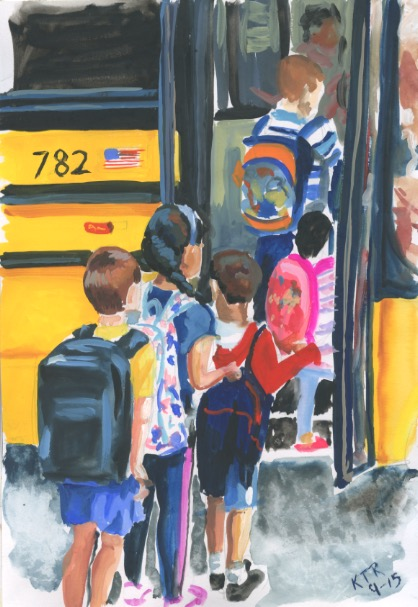 Getting on the School bus, sketchbook painting. Copyright 2015 Kim T. Richards. All rights reserved.