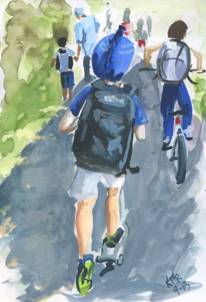 Scootering home on the bike path, sketchbook painting. Copyright 2015 Kim T. Richards. All rights reserved.