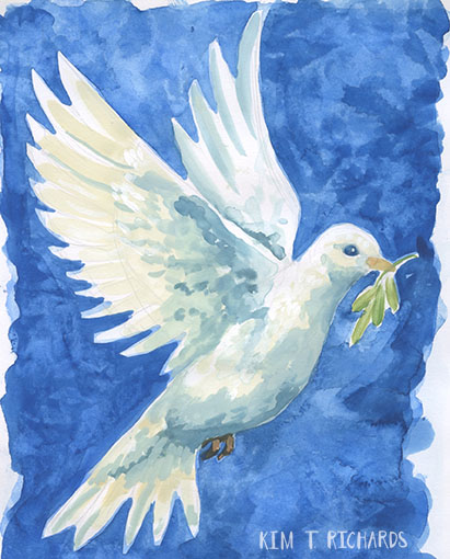 Dove December 2015 sketchbook page done as part of the Four Corners Art Collective Advent Calendar art challenge.