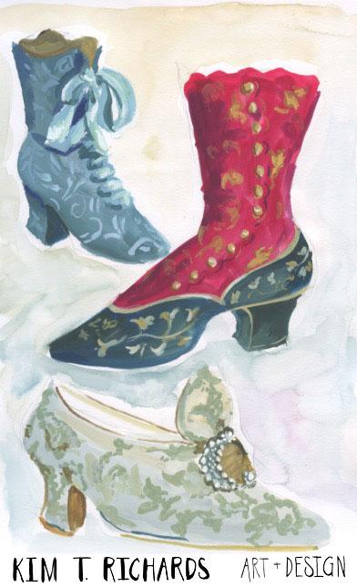 Vintage shoes sketchbook page from November 2015.