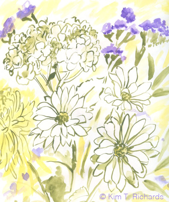 One of the sketches I made of the flowers I received for Mother's Day.