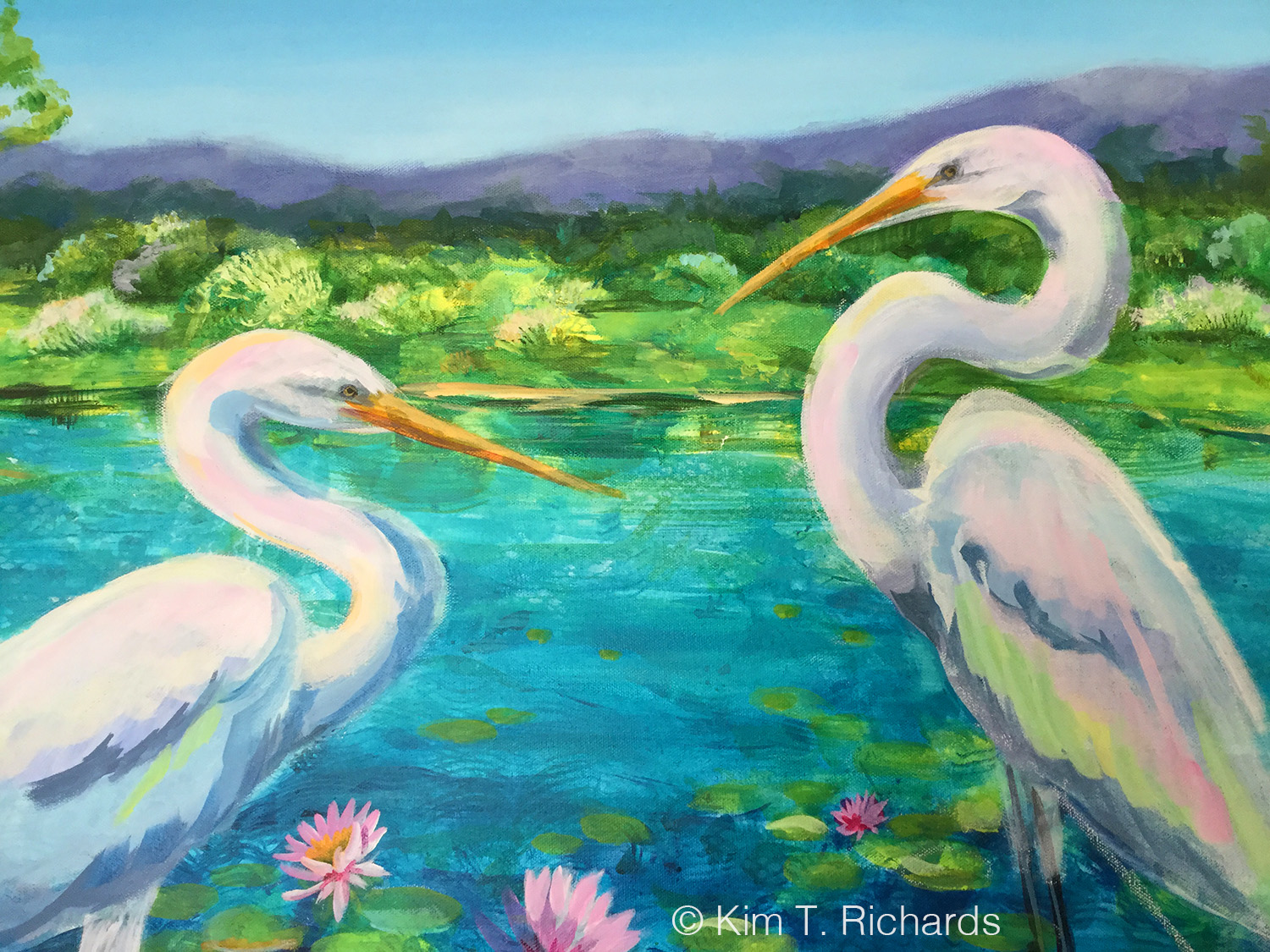 Detail of a new Egret painting, acrylic on canvas, work in progress. © Kim T. Richards
