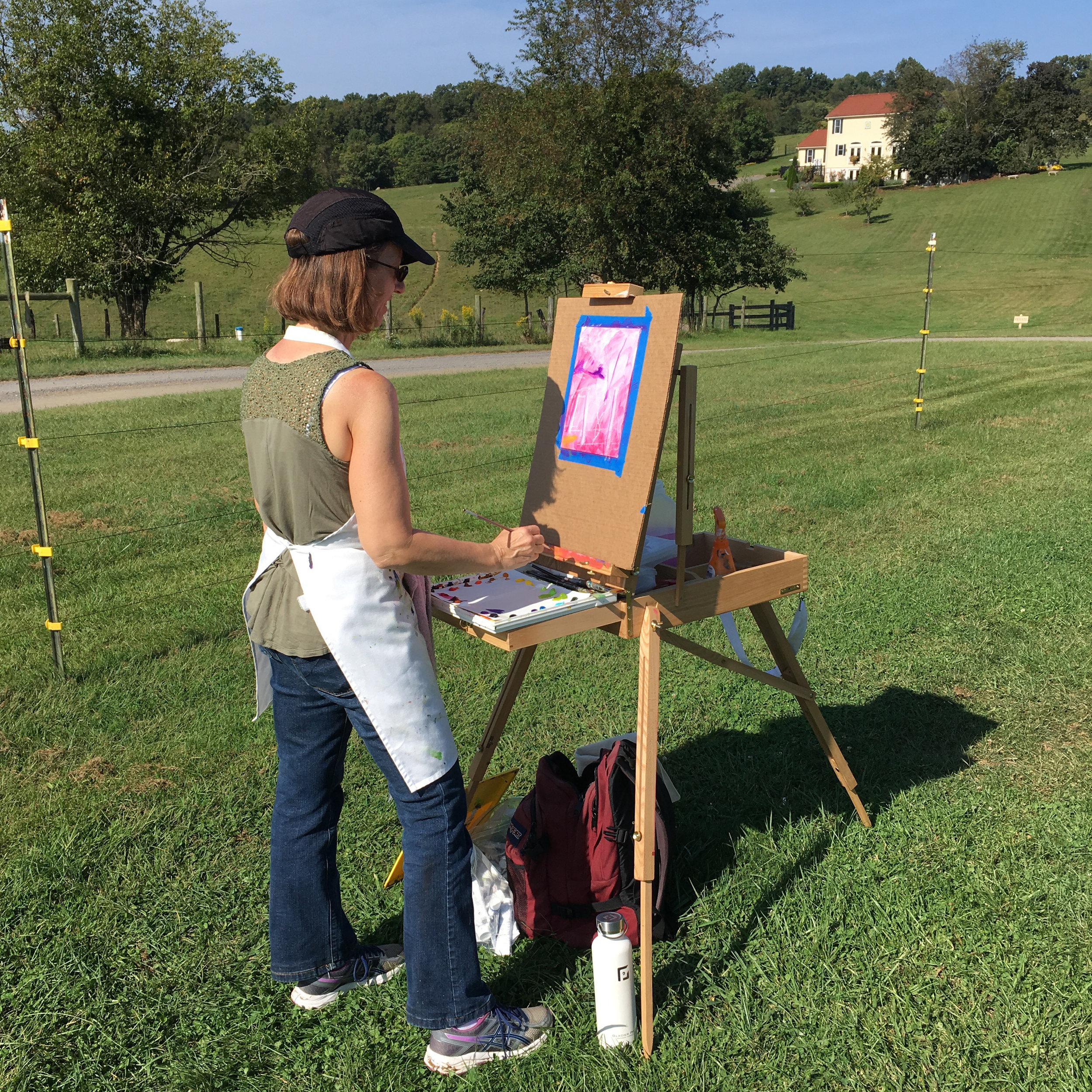 Painting outdoors at Three Fox Vineyard in Deplane, VA