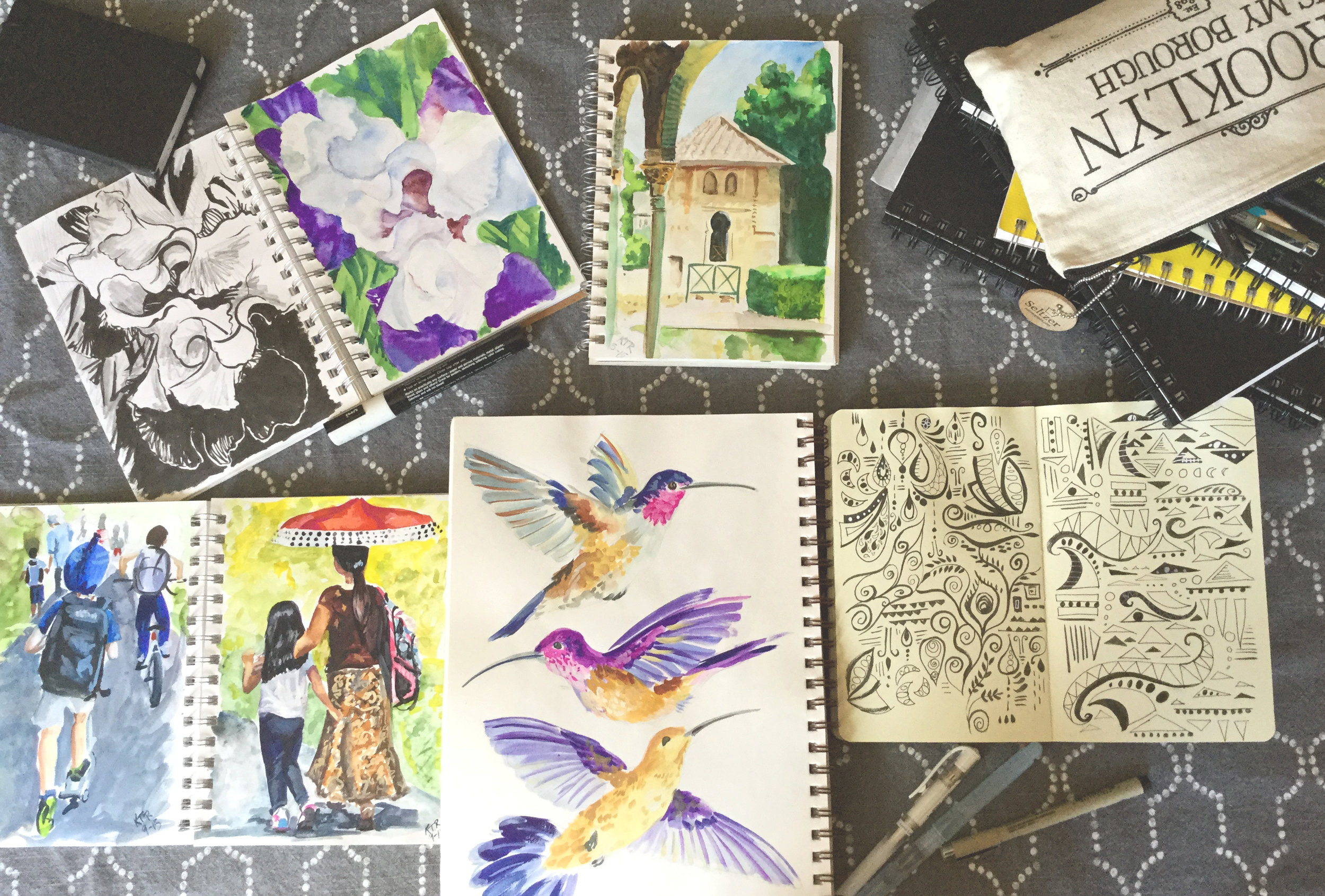 This is a small selection of images from my ever growing collection of sketchbooks. Many of these sketchbook pages have already inspired paintings. When I am searching for an idea to paint, I often refer to the sketches in these books to inspire a theme, or color combination..