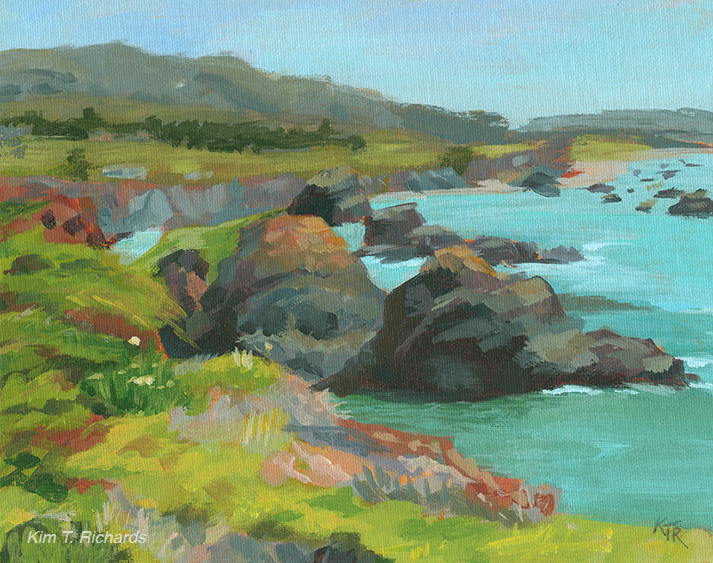 "Bodega Bay  10x8"" acrylic on canvas panel $100"