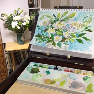 sketching the bouquet in gouache (opaque watercolor) prior to beginning the painting