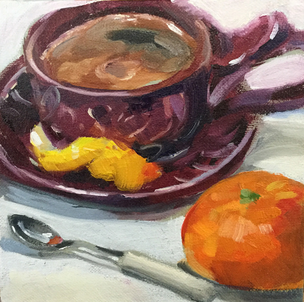 "Espresso With a Twist 6 x 6""  oil on canvas panel"