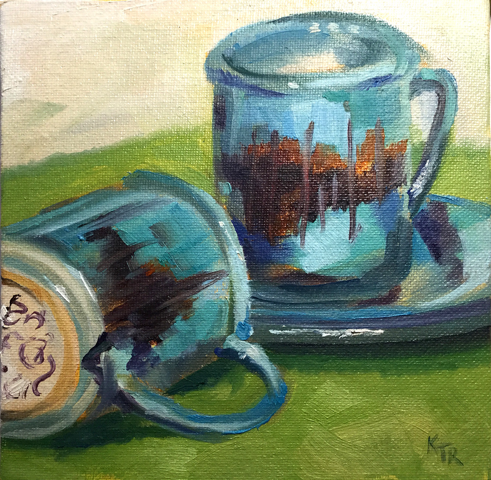 Cafe Orvietto  6 x 6 oil on canvas panel