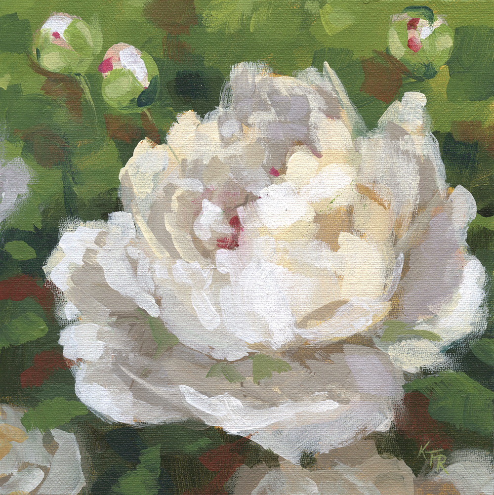 "White Peony 8 x 8"" acrylic on canvas panel"