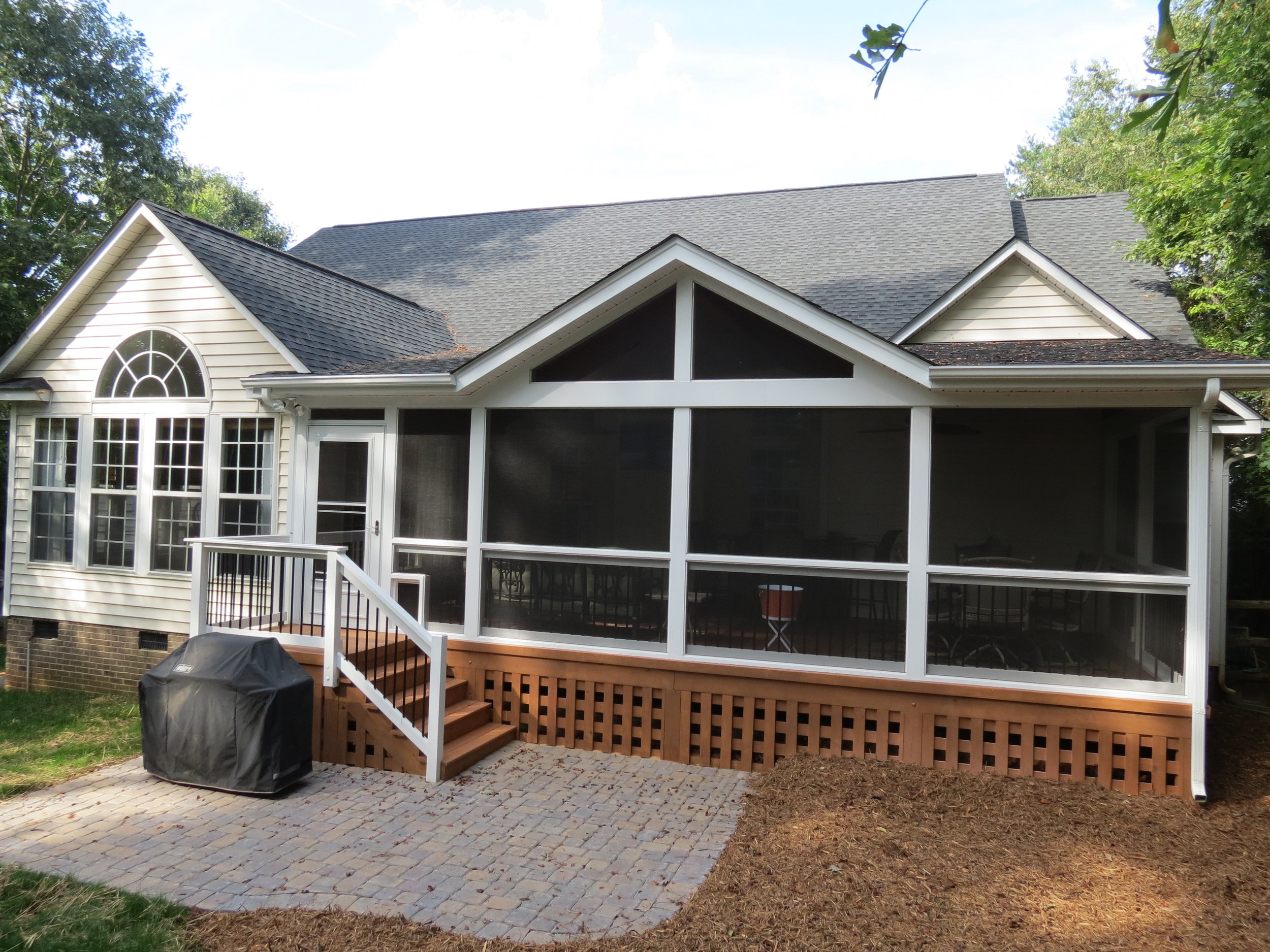 Screened Porch With Open Gable Shed Roof Deckscapes
