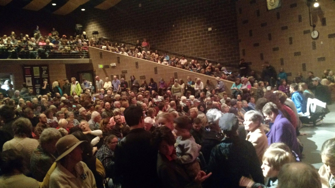 Golden, CO High School Theatre is packed on Super Tuesday for the March 1, 2016 caucus.