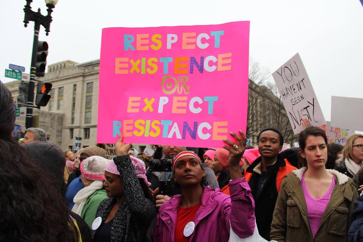 Marchers united. Women's March on Washington. January 21, 2017.