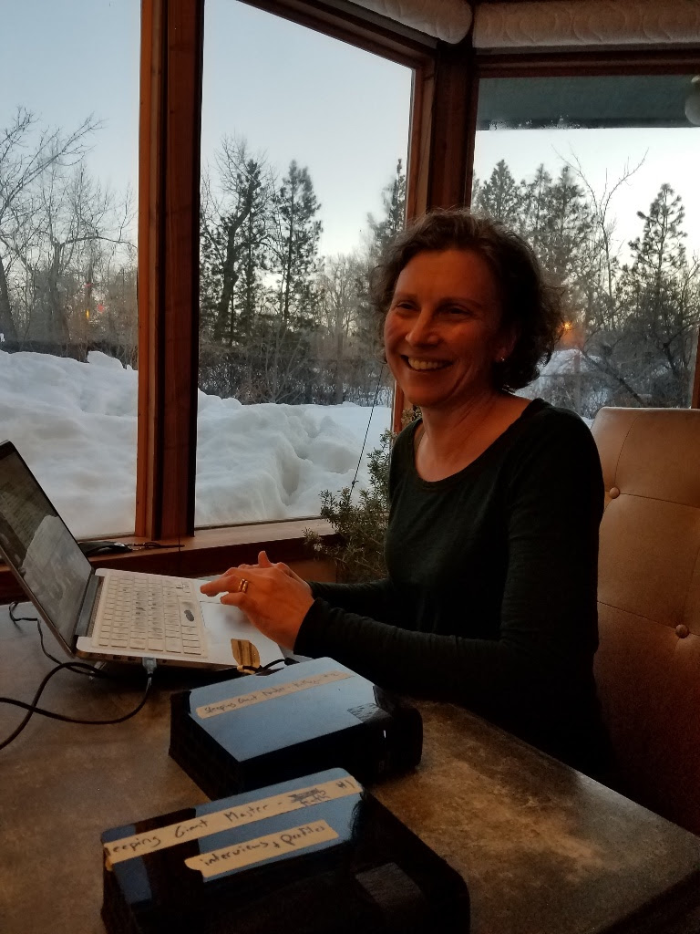 Kathryn Goldman reviewing footage in Idaho.