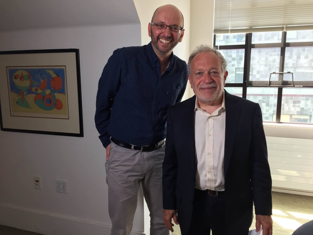 Director/Producer Jacob Smith with Robert Reich at his office, University of CA, Berkeley.