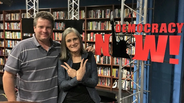 Producer Jon Erickson and journalist Amy Goodman on the set of her award-winning show, Democracy Now! in New York City.