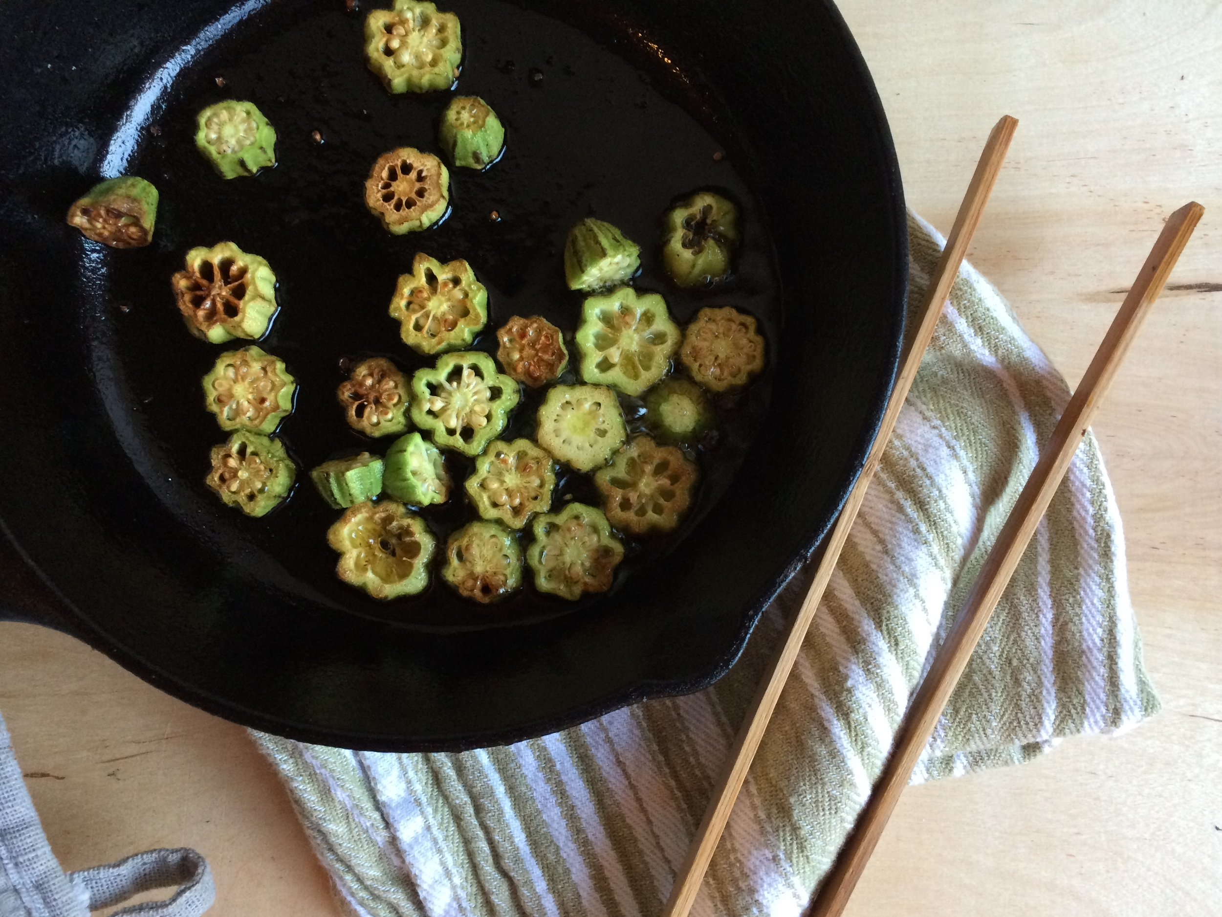 Remove the okra from the pan and reserve until the remainder of your recipe is cooked.