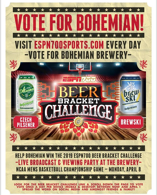 Vote for Boho! @espn700 Beer Bracket Challenge is in full affect! Get you votes in for Bohemian #czechpilsener and/or #brewski mountain lager on espn700sports.com #drinklocal #utahbeer #bihemianbrewery