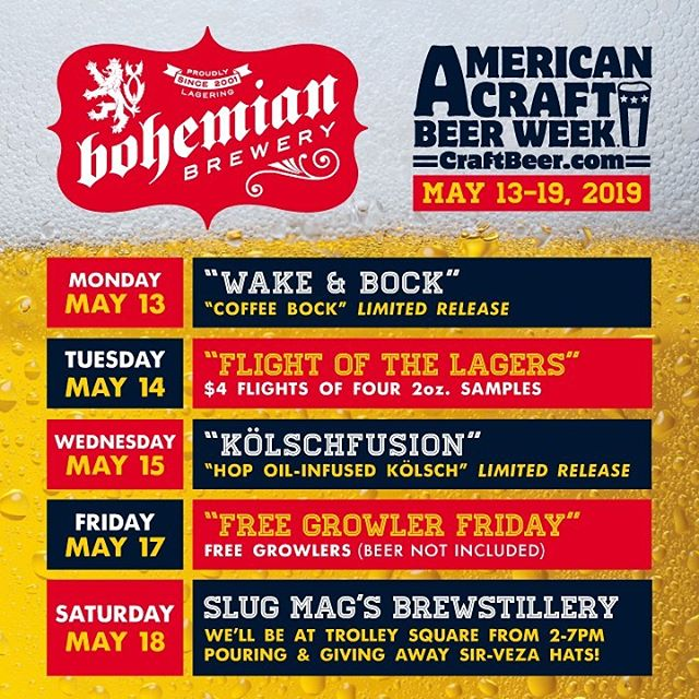 It's #Americancraftbeerweek be sure to swing by Bohemian Brewery for one of our limited releases or a flight of a few. You can also check us out at @slugmag 's #brewstillery event this Saturday at trolley square.
