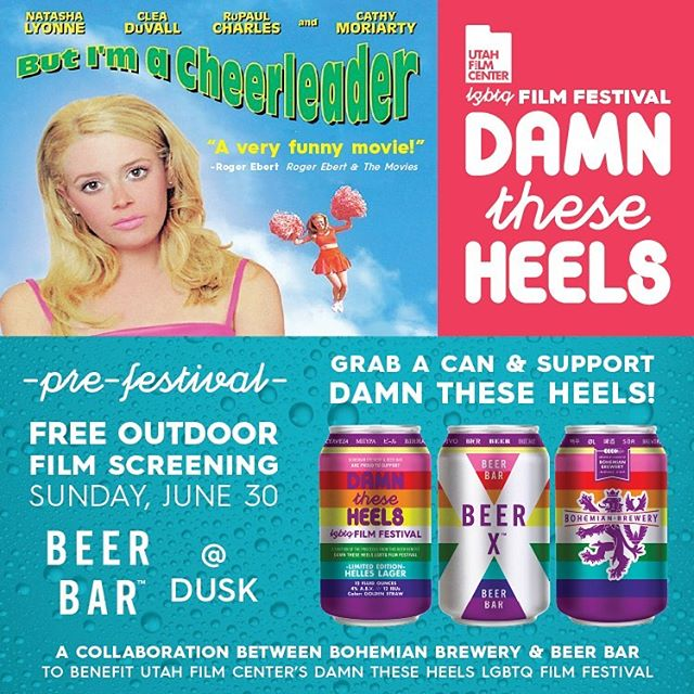 "Join us @beerbarslc this Sunday for a free screening of ""But I'm a Cheerleader"" Presented by the @utahfilmcenter and The Damn These Heels film fest. Starts at dusk."