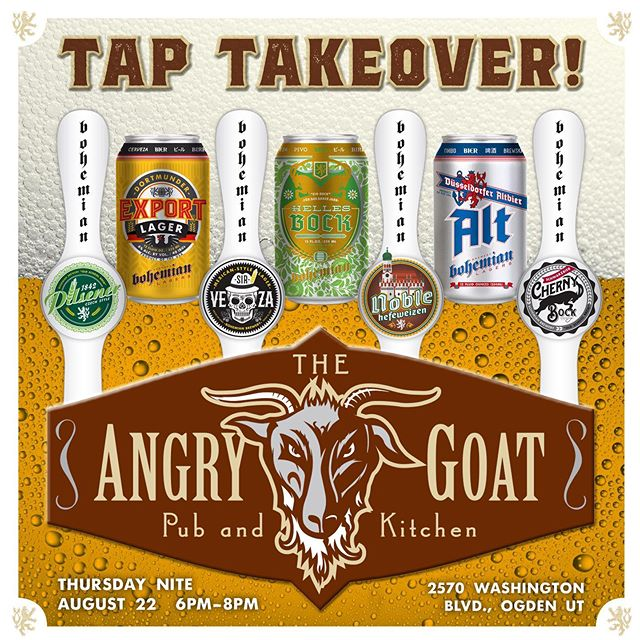 Join the Bohemian crew Thursday August 22nd in #Ogden at the @angrygoatpubnkitchen as we take over the taps with some of your favorite #bohemianbeers #drinklocal #drinkutah #utahbeer #utahisrad #craftbeer #lager #beer #localbeer