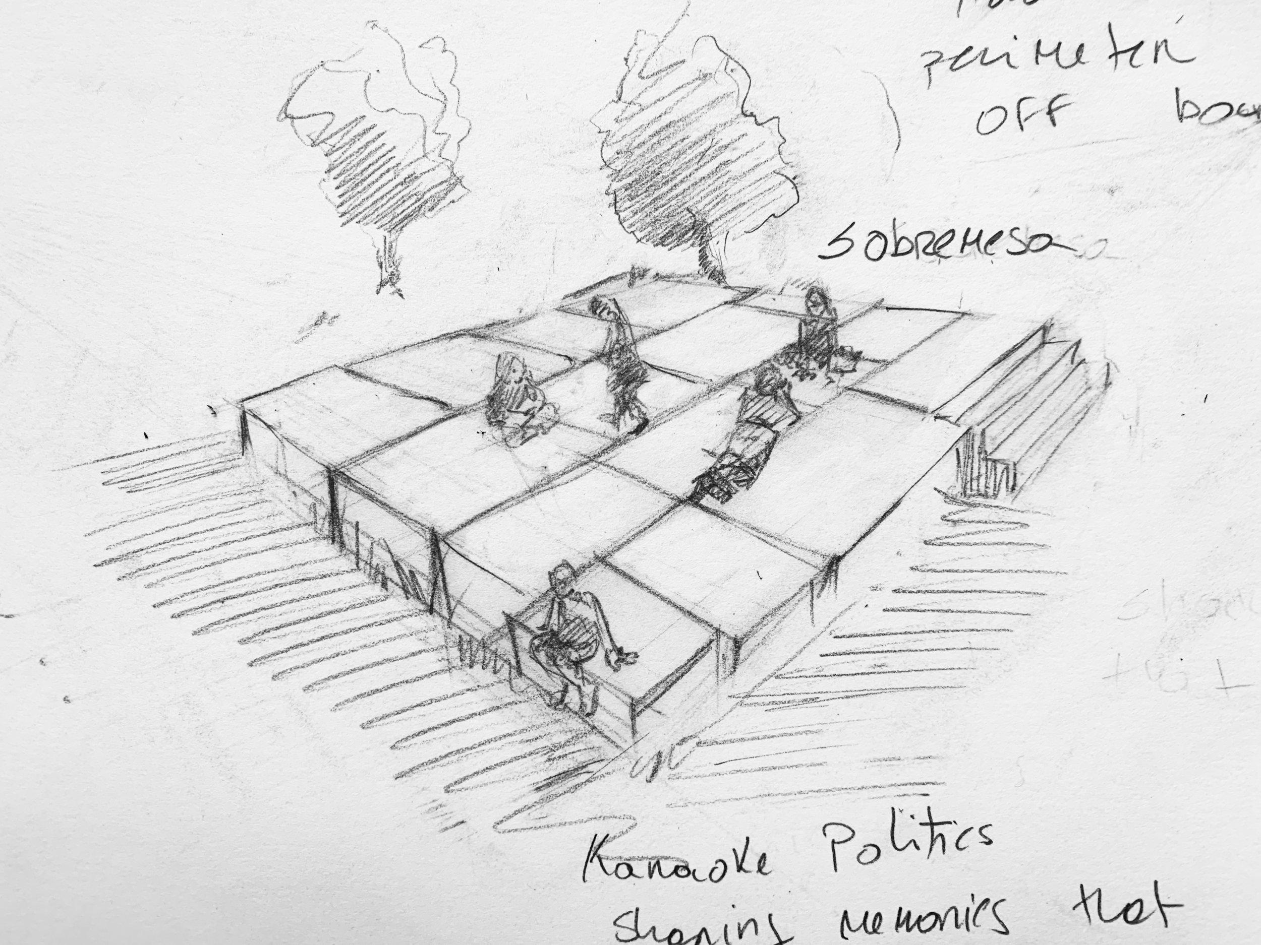 Drawing of concept design for  Sobremesa (Karaoke Politics).  Daniela Rivera, 2019.