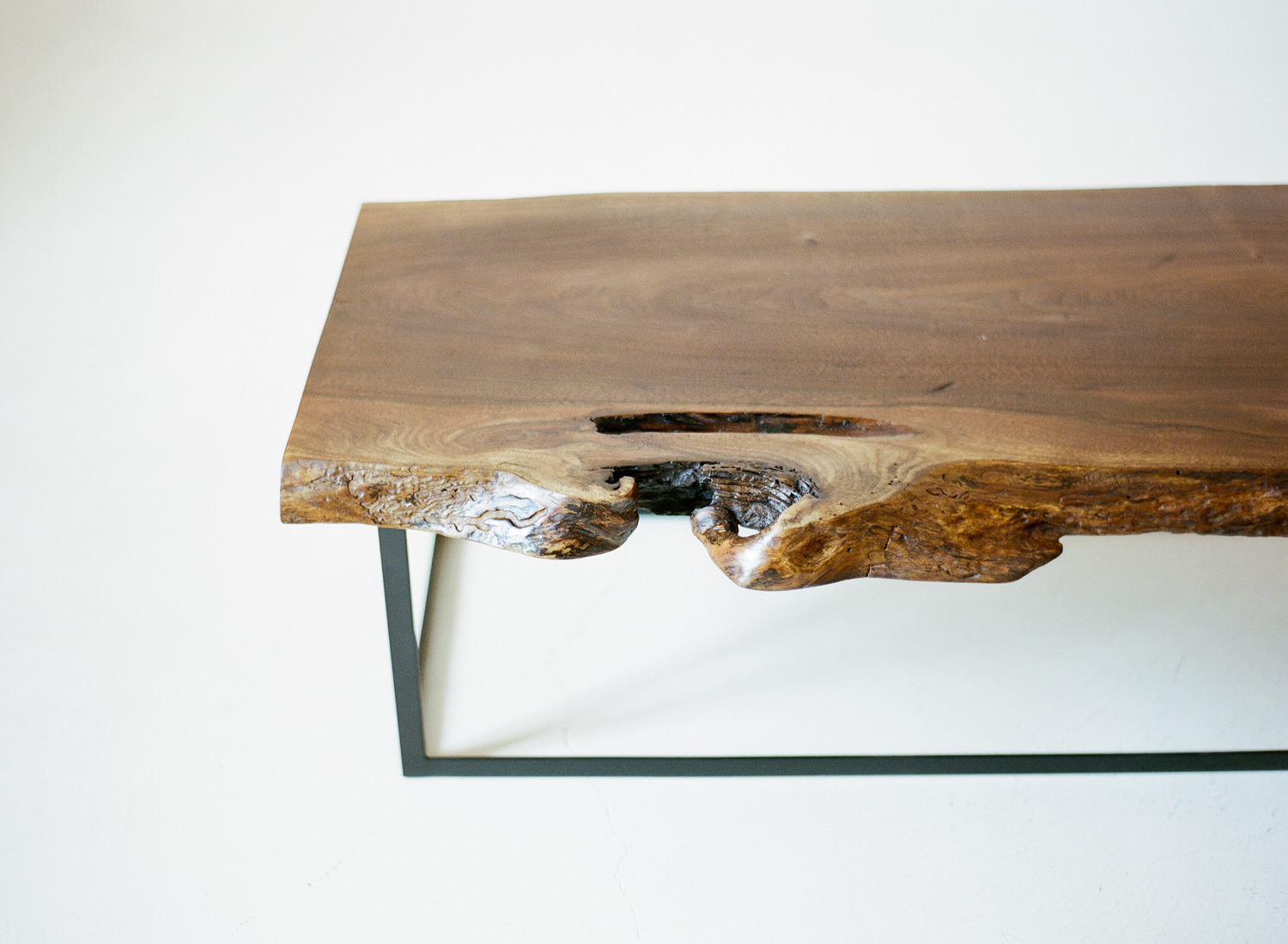 Walnut and Blackened Steel Low Table (detail)