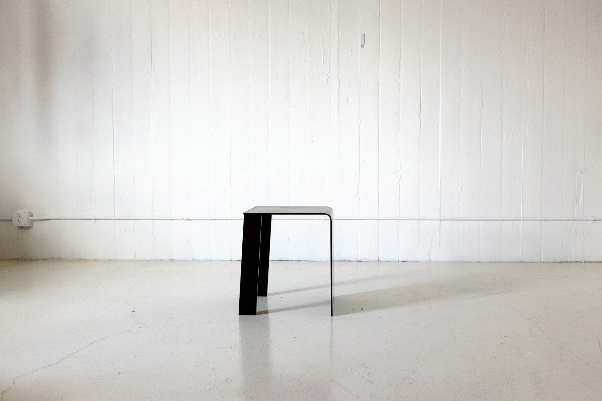 Bent Patinated Steel Low Table/Stool