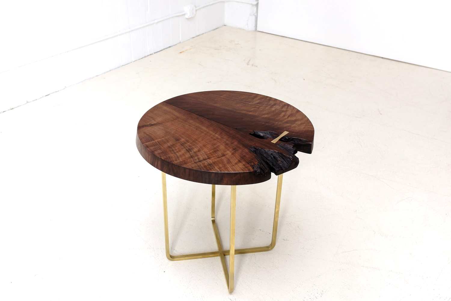 Walnut and Bent Brass Side Table