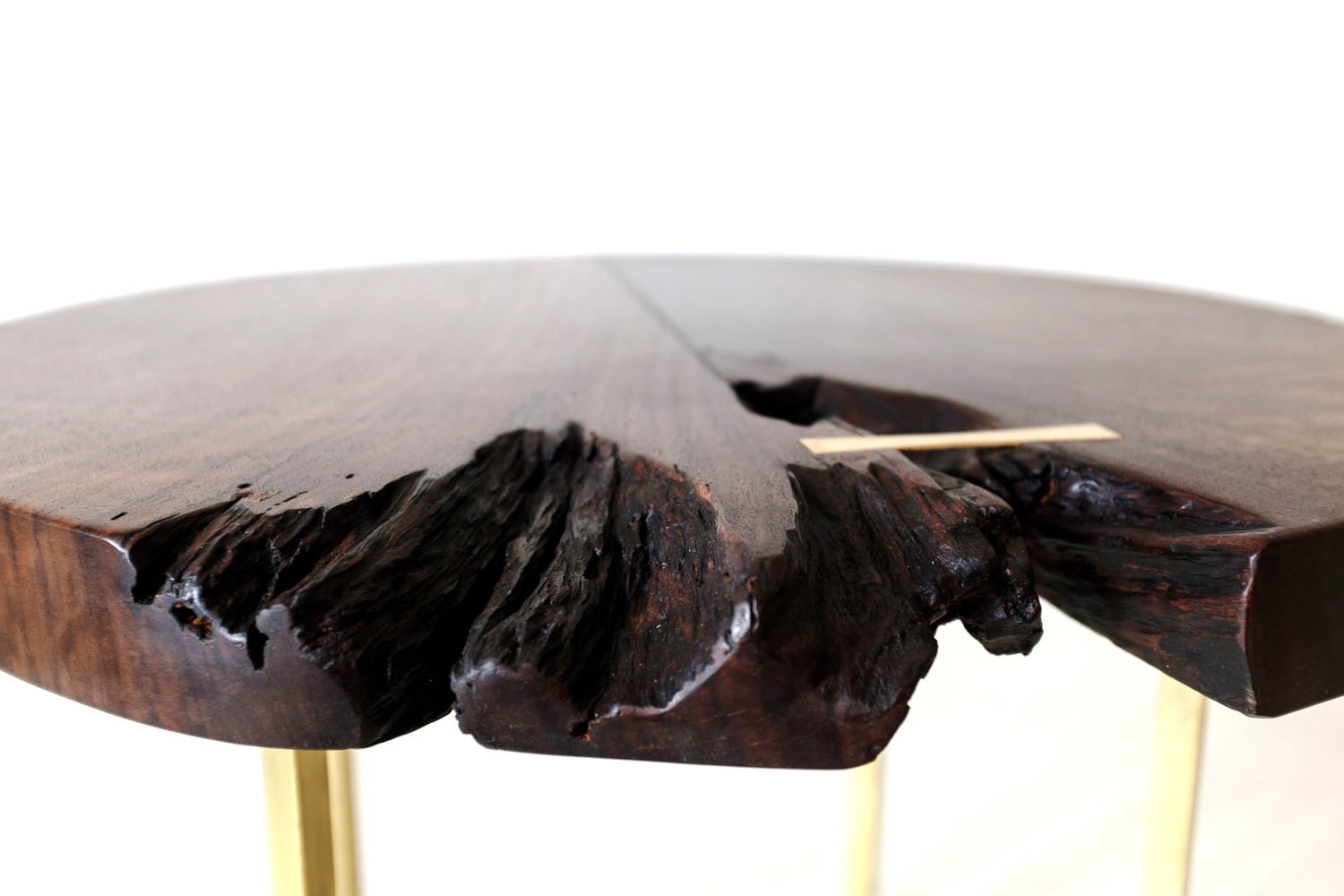 Walnut and Bent Brass Side Table (detail)