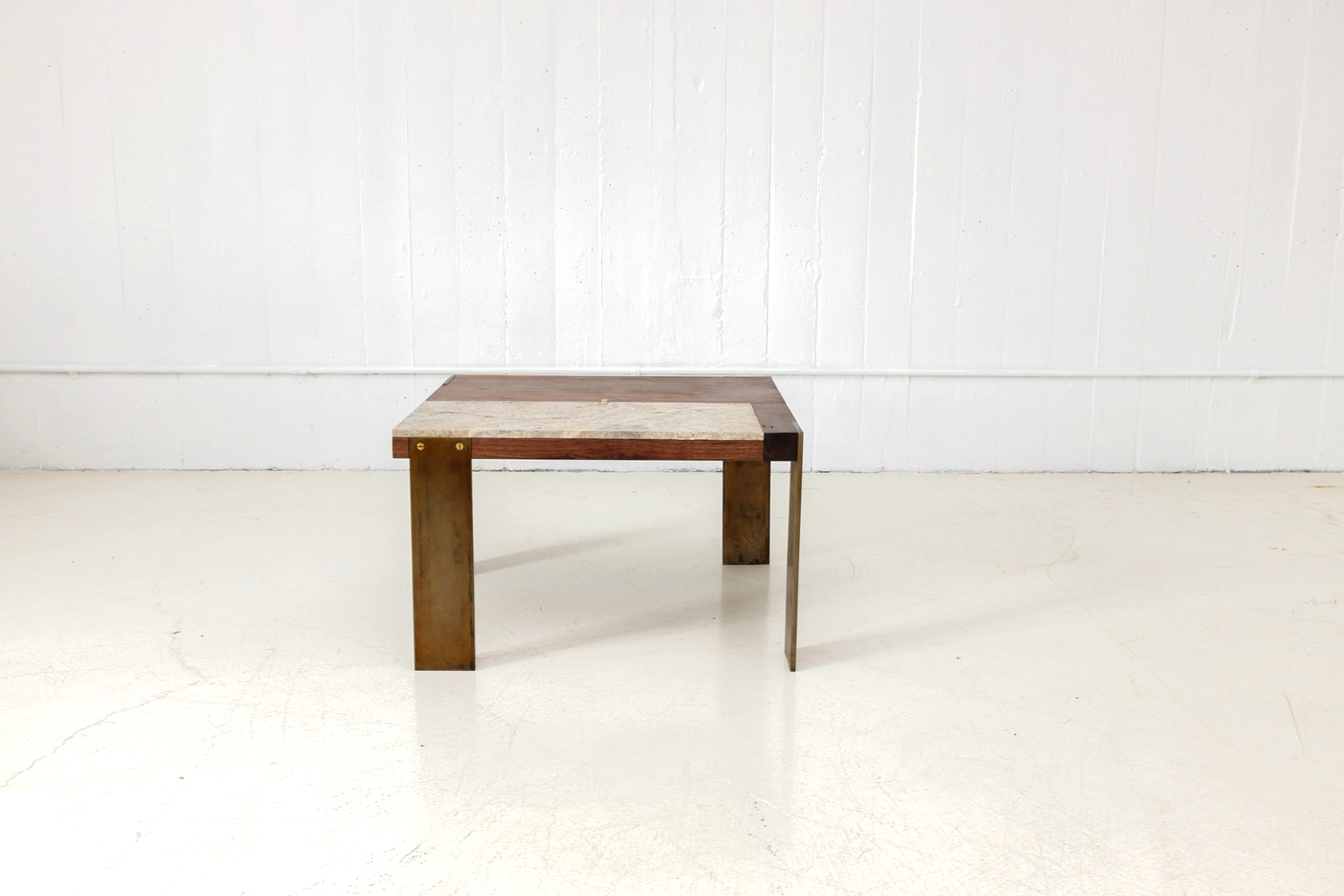 Walnut and Marble Low Table