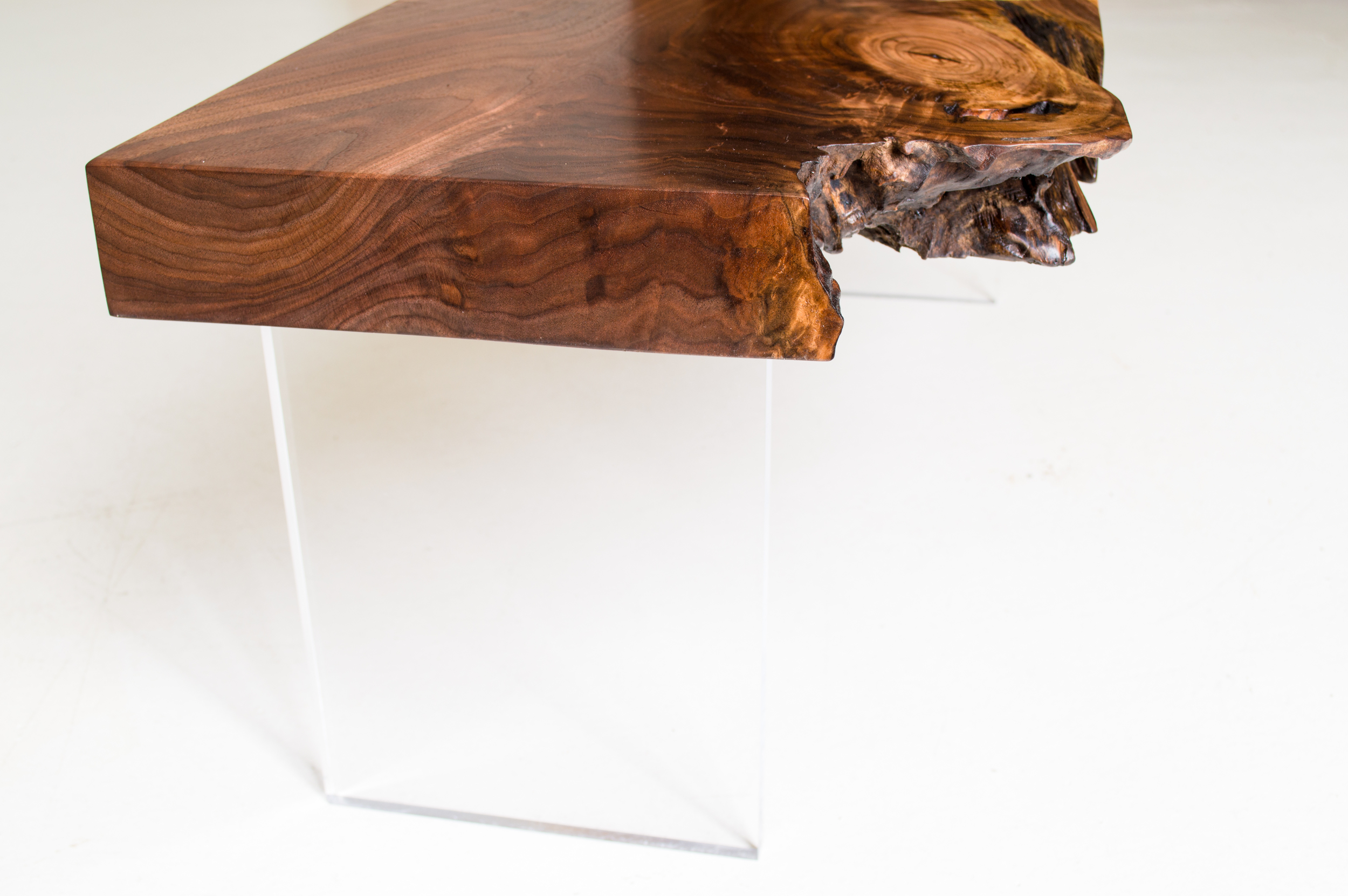 Walnut and Acrylic Low Table (detail)