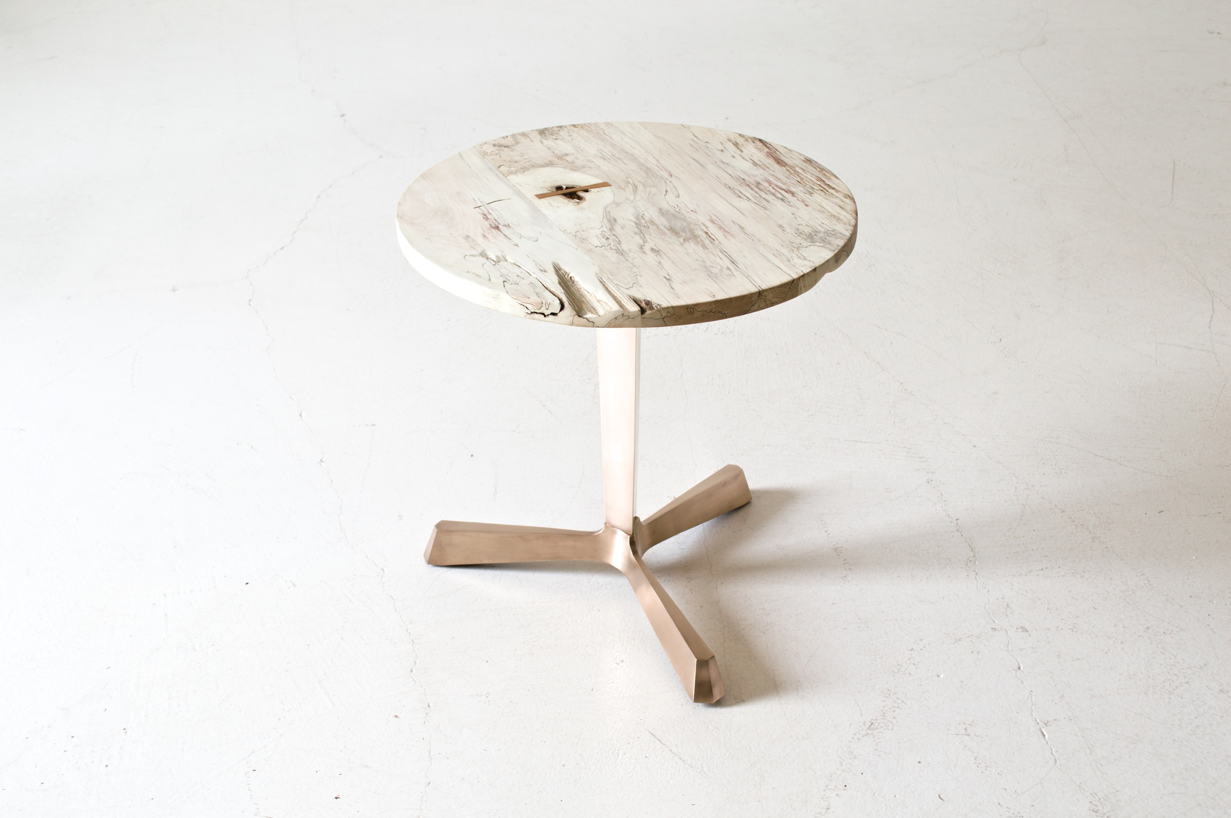 Bleached Maple and Bronze Side Table