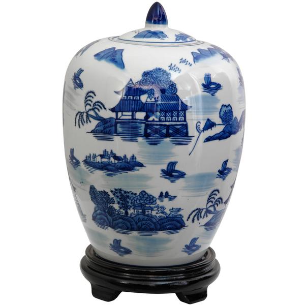 Blue and White Landscape Vase Jar