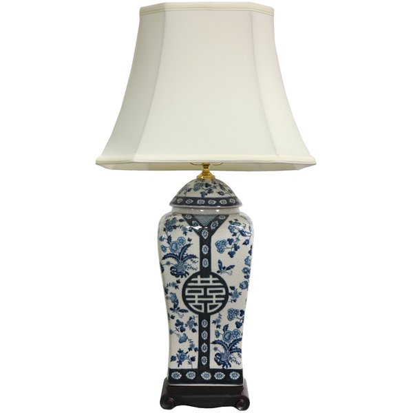 26-inch Blue and White Vase Lamp