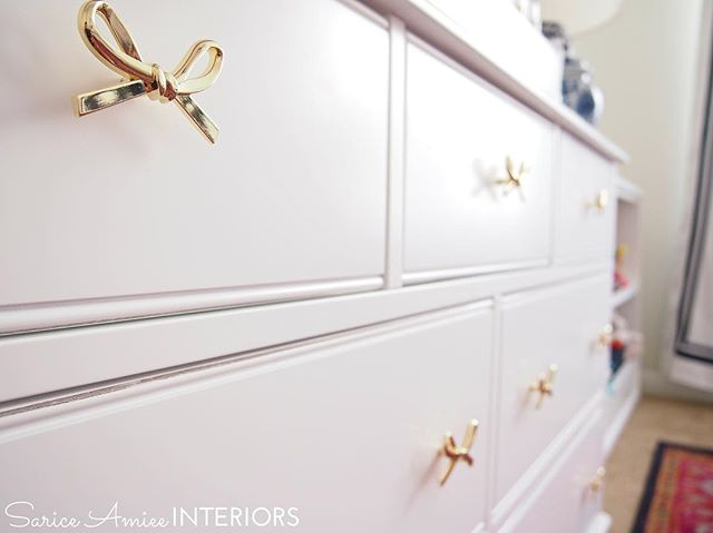 I'm completely obsessed with the @thelandofnod gold bow knobs on baby girl's dresser!🎀😍🎀 More sneak peek shots on the blog and full reveal next week! #landofnod #nursery #girlnursery #projectnursery #chinoiserienursery #nurserydecor #kidsrooms #bow #bows #bowobsession #bowobsessed #girlythings #girlygirl #girlybows