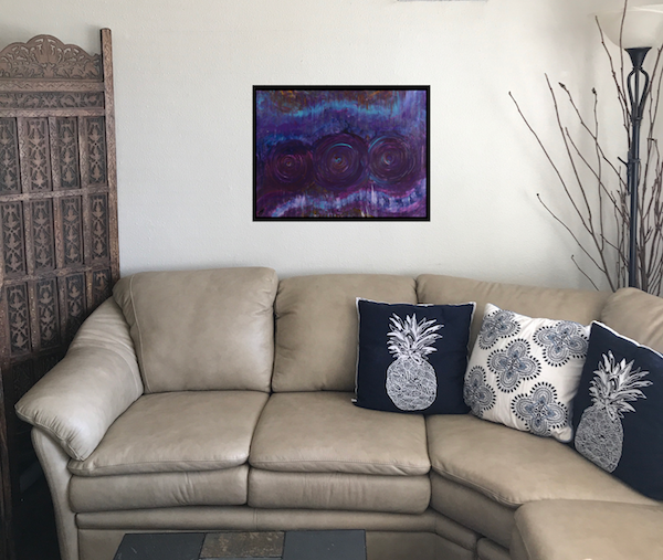 """Three Mandalas, 18""""x24"""" acrylic on wood, framed with black wood. Original painting for sale   here  ."""