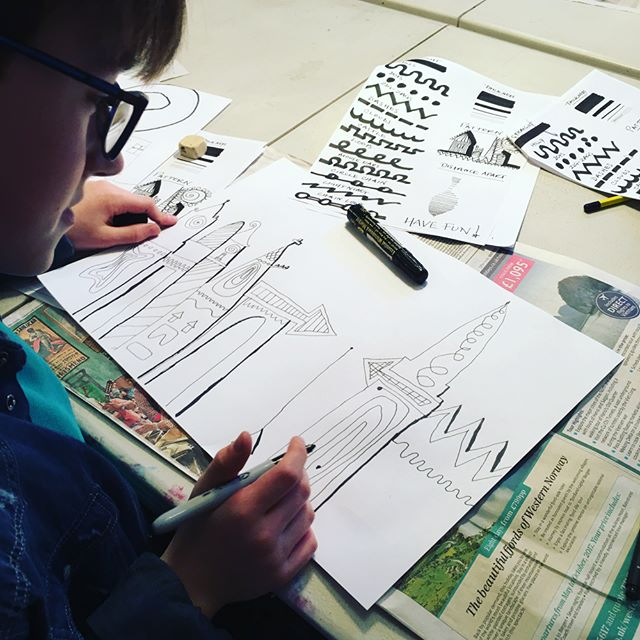 Fun with LINES. Learning key element of art doing cityscapes #rigbydesignhouse #art#kids#harrogate #afterschool #activities #line #fun#cityscape