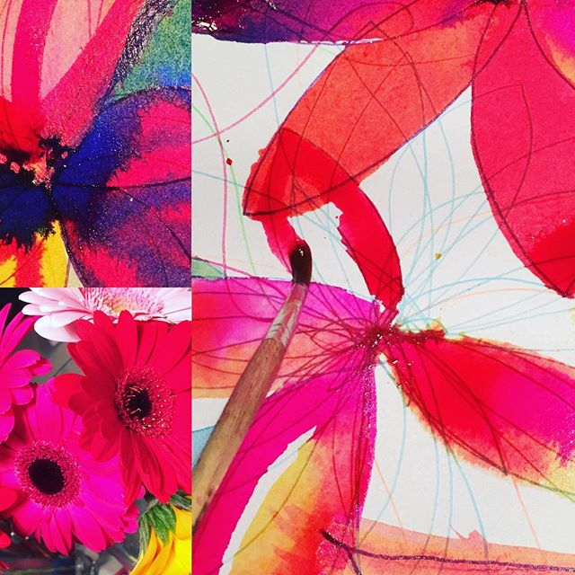 Gerbera inspired workshop demonstrated Warm vs. Cold colours. Amazing vibrant results gained using inks! #kids #gcse#ink #art#activity #harrogate #drawing #painting #rigbydesignhouse #fun