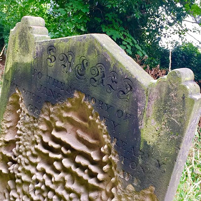 In memory of who? So sad to be disappearing into the past. #whixleychurch #yorkshire #charming #gravestone #sandstone #erosion #past