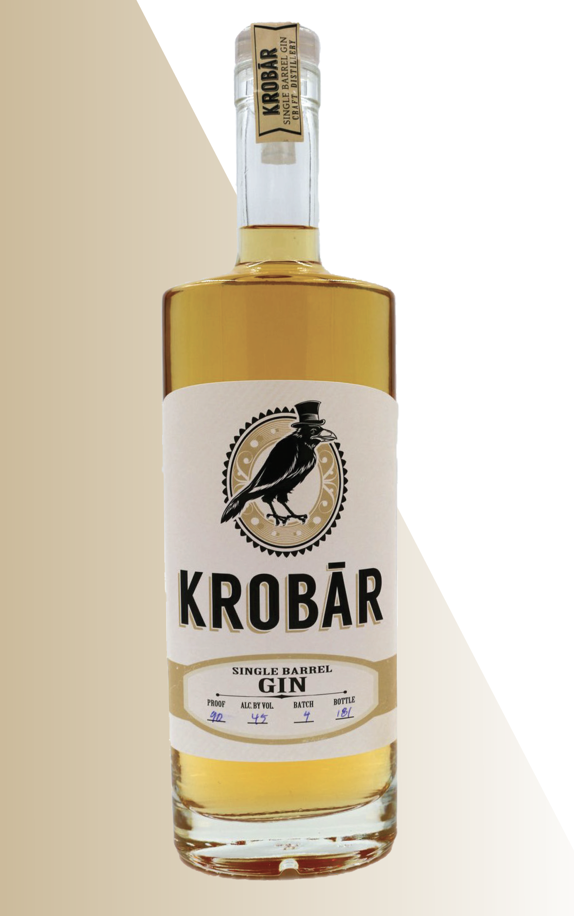 - KROBÃR Single Barrel GInA unique spirit that has a structured botanical mouthfeel, yet finishes smooth and smokey. Our barrel rested gin utilizes our O.G. recipe and is distilled to 170 proof. We then cut the gin to 110 proof and place it in once used Rye whiskey barrels for 6-8 months. Once the flavors are just right the Barrel Gin in cut to 90 Proof / 45% ABV.