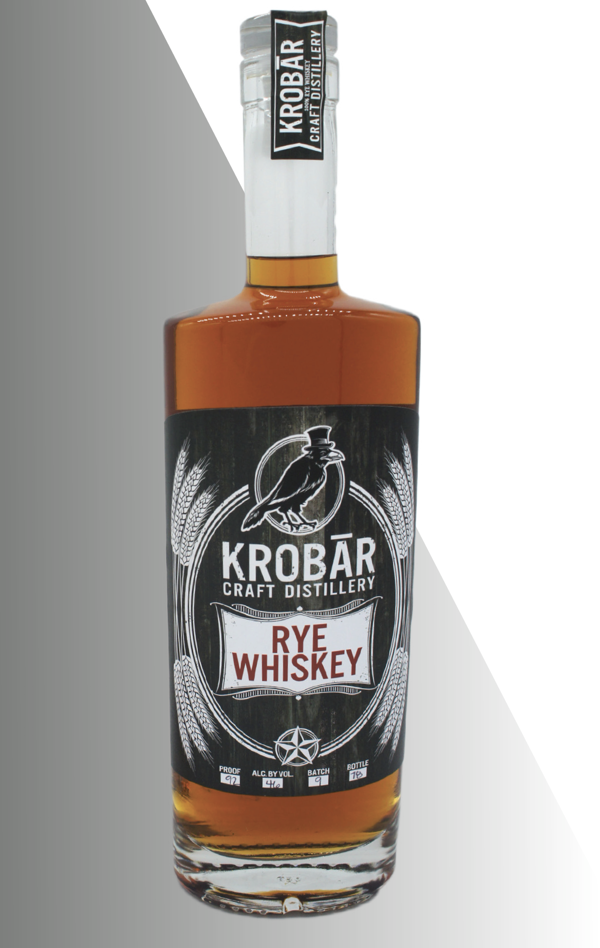 - KROBĀR Rye WhiskeyAfter distillation the Rye was placed in #3 and #4 char American Oak Barrels to rest for 2.5 years. Once the aging process finished, we placed the Rye Whiskey in a tank and cut it down to 92 proof before bottling. 92 Proof / 46% ABVAwards:Distilled Spirits Competition - Best of ClassCalifornia Craft Spirits Competition, Silver Medal