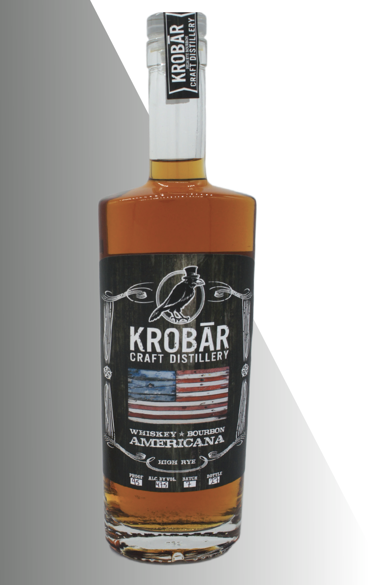 - KROBĀR Americana BourbonAfter distillation, this high Rye Bourbon is placed 53 gallon #2, 3, and 4 char American Oak Barrels and aged for over two years. 95 Proof / 47.5% ABVAwards: California Craft Spirits Competition, Gold Medal